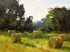 Sunrise in Blood Creek Bottom, painting by artist David Boyd, Jr Landscape Artwork, Landscapes To Paint, Landscape Pictures, Watercolor Landscape, Abstract Landscape, Abstract Art, Farm Paintings, Paintings I Love, Original Paintings