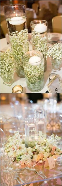 30 New Ideas wedding table centerpieces floating candles water Wedding Table Centerpieces, Flower Centerpieces, Wedding Favors, Centerpiece Ideas, Wedding Ideas, Simple Centerpieces, Wedding Reception, Vintage Centerpieces, Flowers Decoration