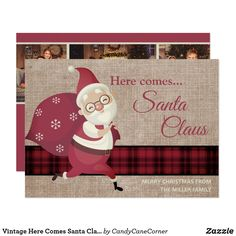 Vintage Here Comes Santa Claus Plaid Burlap Photo Invitation #zazzlemade Personalised Christmas Cards, Holiday Greeting Cards, Christmas Greetings, Vintage Invitations, Photo Invitations, Vintage Santa Claus, Vintage Santas, Family Photo Collages, Plaid Christmas