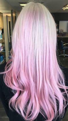 Patel pink balayage ombre on platinum blonde hair. Used Keune pink. Dallas Roberts Salon in West Jordan, Utah.
