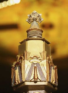 Close-Up of Glittery, Gilt Art Deco Cake