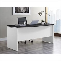 Altra Furniture Altra Furniture Pursuit Executive Office Desk in White and Gray