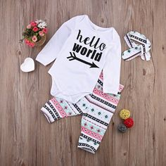 Baby Girl Style // Hello World // 3Pcs Newborn Baby Girls Infant Outfit Set Romper T-shirt+Pants // Baby Outfit Ideas // Onsie // Pink and Mint Baby Outfit // Baby Clothes //affiliate//