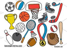 Hand Drawn Sporting Goods #handdrawn #quirky