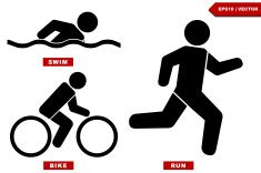 Triathlon marathon active Icons , swimming, running and cycling. vector art illustration