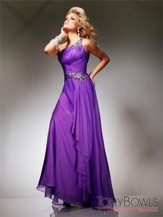 Rochie din sifon de culoare purpurie, colectia Tony Bowls