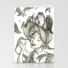 Birds on a Bonnet Stationery Cards by Melani Huggins - $12.00