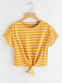 SheIn offers Striped Knot Front Tee & more t. SheIn offers Striped Knot Front Tee & more to fit your fashionable needs. Source by laraxshe - Girls Fashion Clothes, Teen Fashion Outfits, Trendy Outfits, Summer Outfits, Girl Outfits, Style Fashion, Fashion Dresses, Cropped Tops, Cute Crop Tops