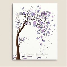 Love Bird Purple Watercolor Tree Art 11 x 14 Print, Abstract Nature Inspired Wall Art, Modern Home Décor (119) on Etsy, $20.00
