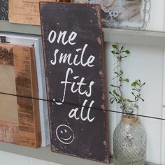 "Tekstbordje ""One Smile Fits All"" Uitverkocht"
