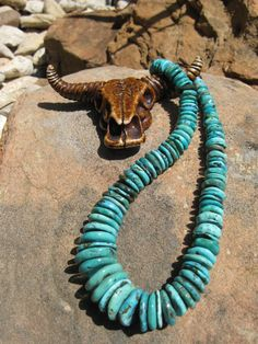 Shades of Blue  African Turquoise Necklace by fleurdesignz on Etsy, $117.00