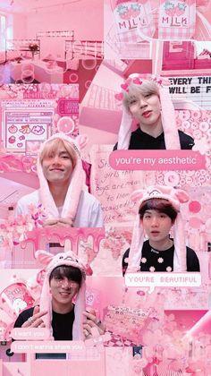 Bts Wallpaper Tela De Bloqueio Rosa Ideas For 2019 Bts Jimin, Bts Taehyung, Bts Bangtan Boy, Bts Boys, Jhope, Army Wallpaper, Tumblr Wallpaper, Pink Wallpaper, Korea Wallpaper