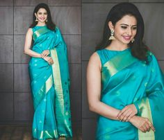 Looking for saree makeup ideas? Here are our tips of 14 simple and effortless makeup looks that can make you look gorgeous. Silk Saree Blouse Designs, Saree Blouse Patterns, Kurta Designs, Simple Sarees, Simple Saree Designs, Saree Poses, Stylish Sarees, Trendy Sarees, Fancy Sarees