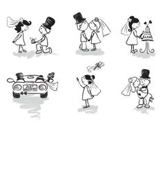 Wedding and newly married vector on VectorStock®