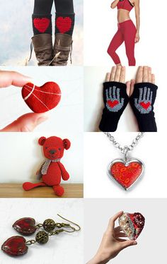 """☛ www.etsy.com/shop/paroliro """"Red Teddy Heartbreaker"""" features red heart holiday handmade fashions and accessories for the holidays by my talented fellow worldwide Etsians.  [*Click on image to see all 16 items I chose and for full information]☚ --Pinned with TreasuryPin.com"""