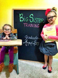 Big sisters. Baby announcement. Big sisters in training. Siblings. Baby #3.
