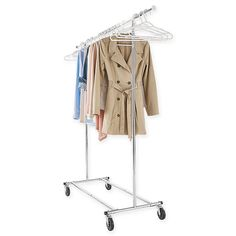 Handy Commercial Grade Portable & Folding Adjustable Garment Rack is the perfect solution to your need for closet space. Constructed of heavy duty chrome with commercial grade swivel wheels for mobility, this rack conveniently folds for flat storage.