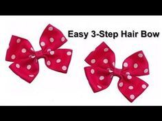 Easy 3 Step No Sew DIY Hair Bow Tutorial. I find this to be the best way to make a hair bow out of ribbon. More Videos From HairHardware: Learn To Make A Boutique Style Hair Bow . Make A Loopy Puff Hair Bow . Easy Hair Bows, Ribbon Hair Bows, Making Hair Bows, Diy Ribbon, Grosgrain Ribbon, Bow Making, Ribbon Flower, Ribbon Bow Tutorial, Hair Bow Tutorial