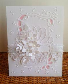 White Card, Handmade Cards, Marianne Design, Cards Wedding, Beautiful Card, Card Ideas, Elegant Card, Wedding Card