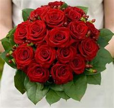 Red Roses with Hypericum Berries