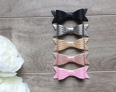 Metallic Faux Leather Bow Headband or Clip, Newborn Headband Baby Girl Headbands, Newborn Headbands, Baby Bows, Leather Bow, Photography Props, Metallic, Etsy, Accessories, Fashion