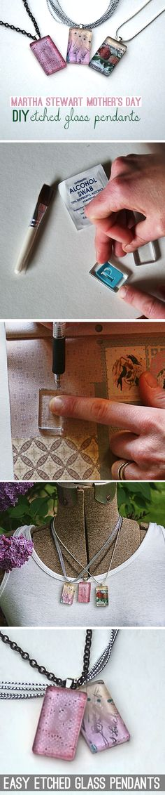 @savedbyloves DIY Etched Glass Tile Pendant   Martha Stewart Crafts  mothers-day
