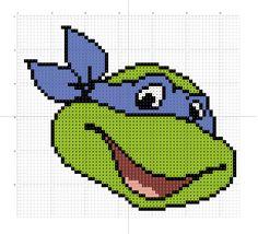 Raphael (Teenage Mutant Ninja Turtles) Graph to make a Afghan Cross Stitch Needles, Cross Stitch Charts, Cross Stitch Patterns, Embroidery Patterns, Crochet Ninja Turtle, Anime Pixel Art, Stitch Cartoon, Cross Stitch For Kids, Quick Crochet