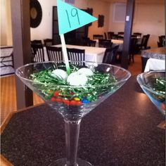 Golf themed party centerpiece m and m's tinsel and golf balls