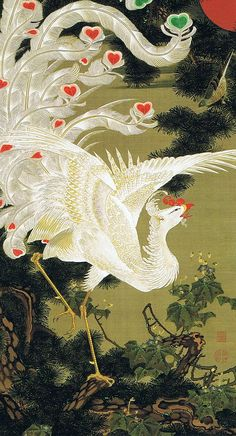 "Japanese Art - 若冲 老松白鳳図(ろうしょうはくほうず)| ""Pictures of the Colorful Realm of Living Beings"", 1765, Jakuchu Ito"