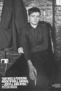 Ian Curtis with quote from Peter Hook, Joy Division