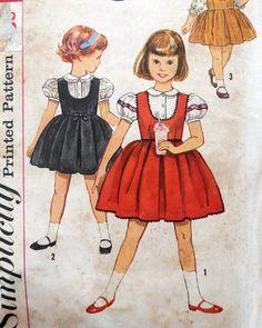 Simplicity 3724  Adorable Toddler Girls' Jumper Dress &