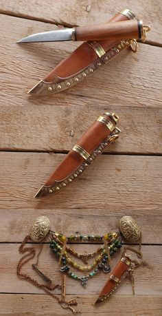 Amazing Viking knives… A small women´s knife. Handle is applewood, with bras… – knives Viking Garb, Viking Reenactment, Viking Dress, Viking Warrior, Viking Woman, Viking Clothing, Viking Jewelry, Larp, Viking Wedding