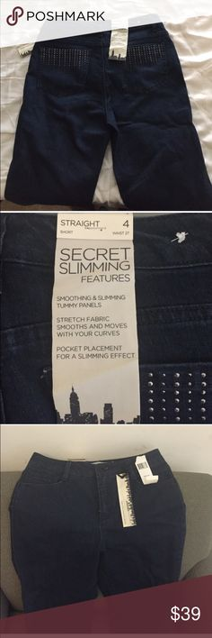 Dark blue Jeans with stone pocket detail New with tags, inseam 30 inches Jones New York Jeans Straight Leg