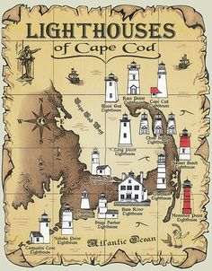 Lighthouses of Cape Cod Map T-Shirt One of my Fav Places in the World!