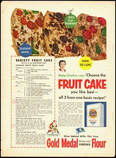1952 Vintage Ad for Gold Medal Flour Fruit Cake Betty Crocker