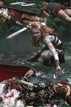 Warriors:  A #Pictish #warrior #woman battling Roman soldiers.