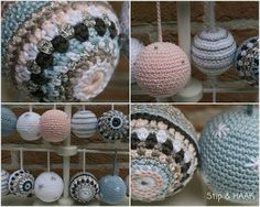 Gehaakte kerstballen Crochet Ball, Crochet Home, Love Crochet, Crochet Gifts, Crochet Motif, Diy Crochet, Crochet Patterns, Crochet Christmas Decorations, Crochet Decoration