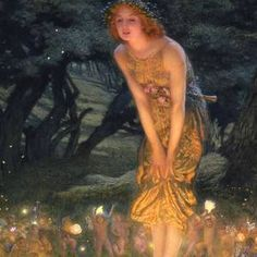 Midsummer Eve Art Print by Edward Robert Hughes. All prints are professionally printed, packaged, and shipped within 3 - 4 business days. Edward Robert Hughes, Solstice Festival, Summer Solstice, Happy Solstice, Grand Tour, Midsummer's Eve, Swedish Traditions, Fairy Paintings, Thing 1