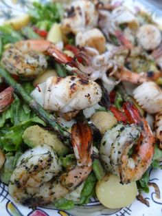 "Grilled Tiger Shrimp, Scallop & Calamari Salad - For Low Carb skip the potatoes, a great salad dressing recipe is included! -  ""The idea is to compose a fresh and flavourful hastle-free salad with a treasure trove of grilled seafood and a riot of your favourite veggies nestled on top, for an easy evening meal once the warm weather finally arrives for good."""