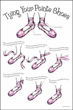 How to tie your pointe shoes. Great diagram.