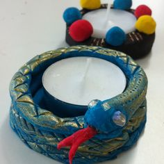 Air dry clay tealight holders at ArtPad. For Year of the Snake.