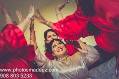 Bride with BridesMaids Photo at Mahwah Sheraton - Indian Wedding. Best Wedding Photographer PhotosMadeEz, Award winning photographer Mou Mukherjee. Featured in Maharani Weddings.
