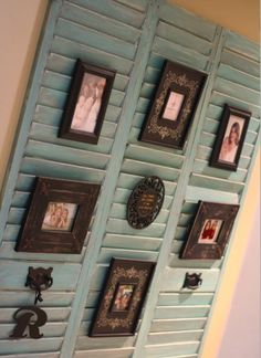 shutters with pictures. Would use different paint and frames but like the idea.