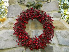Red Berry Valentine Wreath Holiday Wreath by EverBloomingOriginal