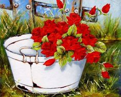 Art by Stella Bruwer white enamel tub with red roses on grass by blue fence Acrylic Portrait Painting, Artist Painting, Painting On Wood, Painting & Drawing, Pictures To Paint, Art Pictures, Stella Art, Creation Photo, Country Paintings