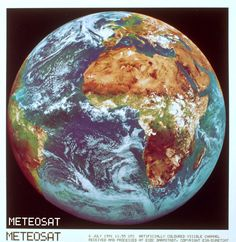 Meteosat-4 Earth image 6/7/1991 artificially coloured