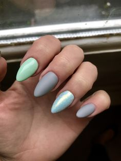 Mint. Matte grey nails Mermaid effect Lovely