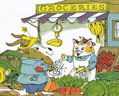 "Farmer Alfalfa and Grocer Cat - from ""What Do People Do All Day?"" by Richard Scarry"