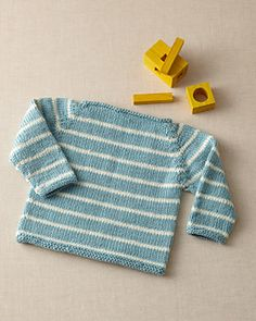 Striped Raglan Baby Pullover by Lion Brand Yarn