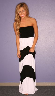 Really cute strapless black and white maxi dress